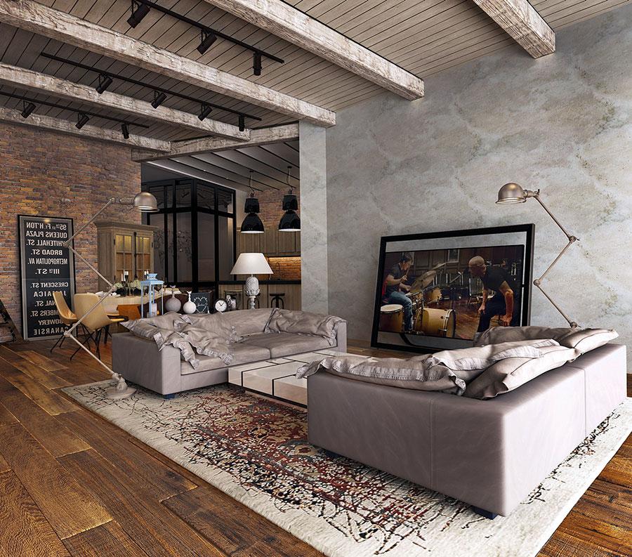 Idee per arredare il soggiorno in stile industriale n.04