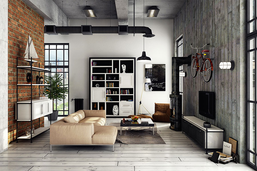 23 idee per arredare il soggiorno in stile industriale. Black Bedroom Furniture Sets. Home Design Ideas