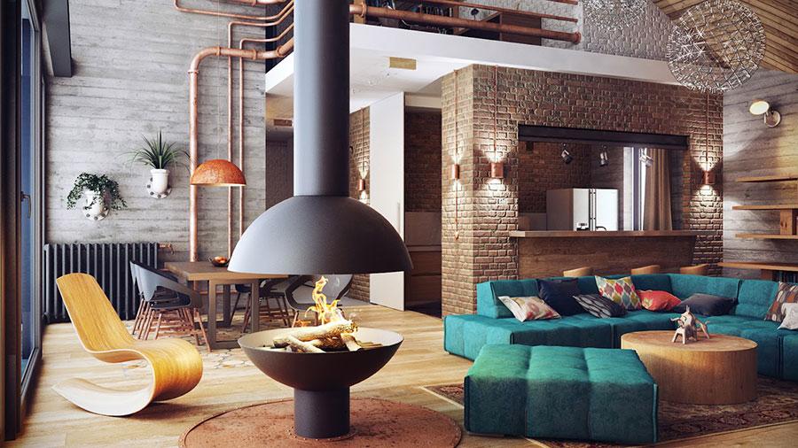 Soggiorno con divano blu 03
