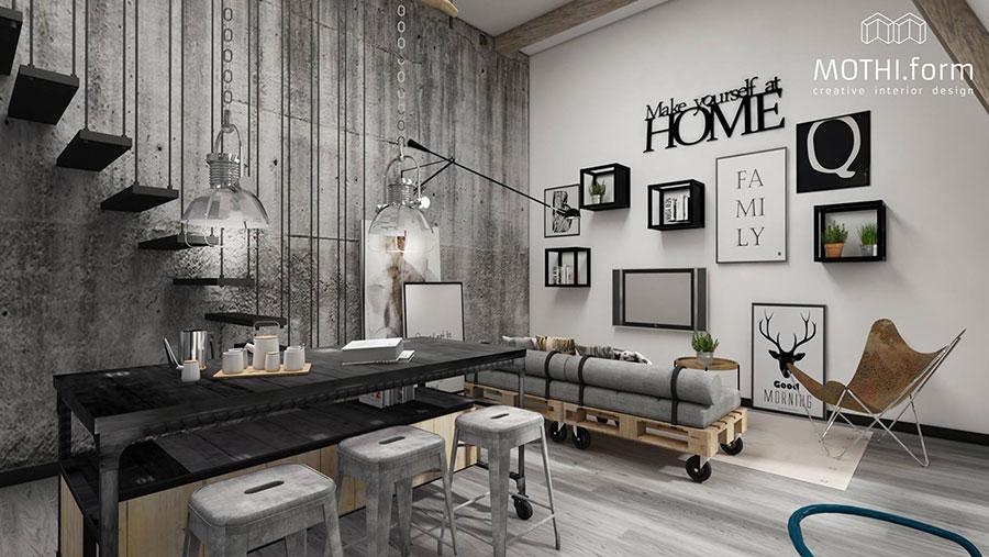 Idee per arredare il soggiorno in stile industriale n.10
