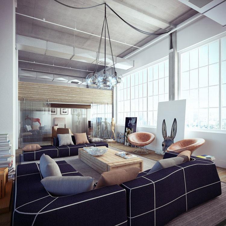 Idee per arredare il soggiorno in stile industriale n.14