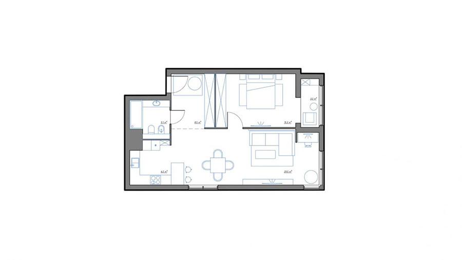 Progetto di arredo per una casa di 70 mq n.12