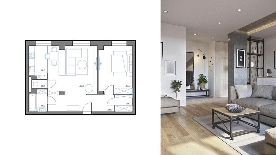 Come arredare una casa di 70 mq ecco 3 progetti for Progetto arredo casa on line
