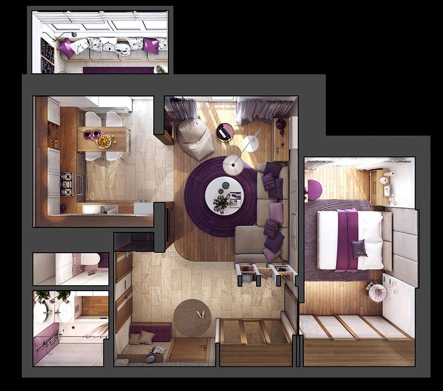 Progetto Di Arredo Per Una Casa Di 70 Mq N.31