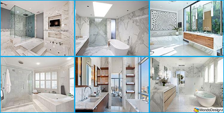 Bagni con rivestimenti in marmo bianco
