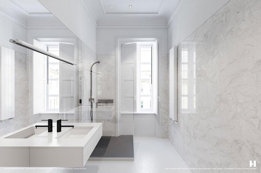 Bagno bianco 20 idee di arredamento moderno ed elegante - Bagno di marmo ...