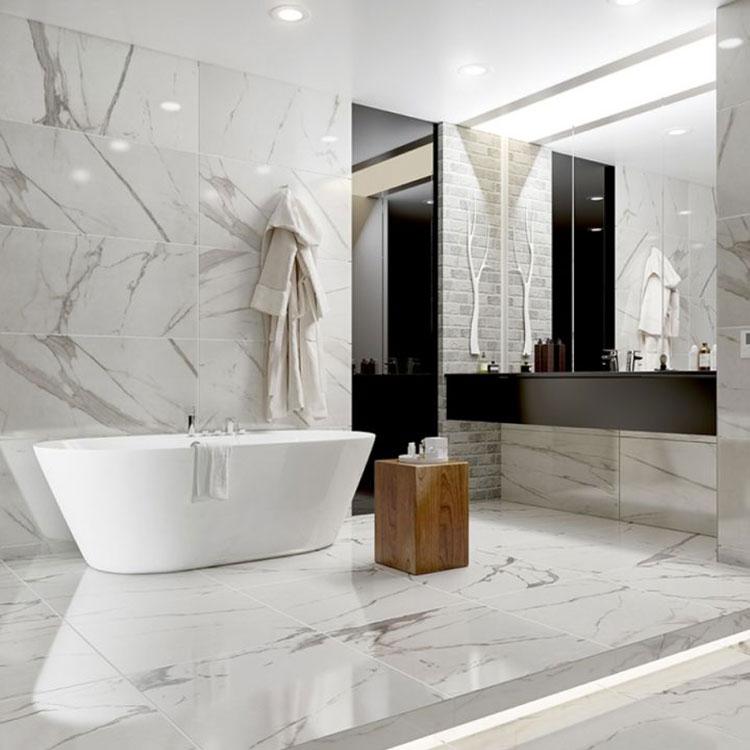 Bagni in marmo bianco 20 idee per arredi di lusso for Bagno nei piani del garage