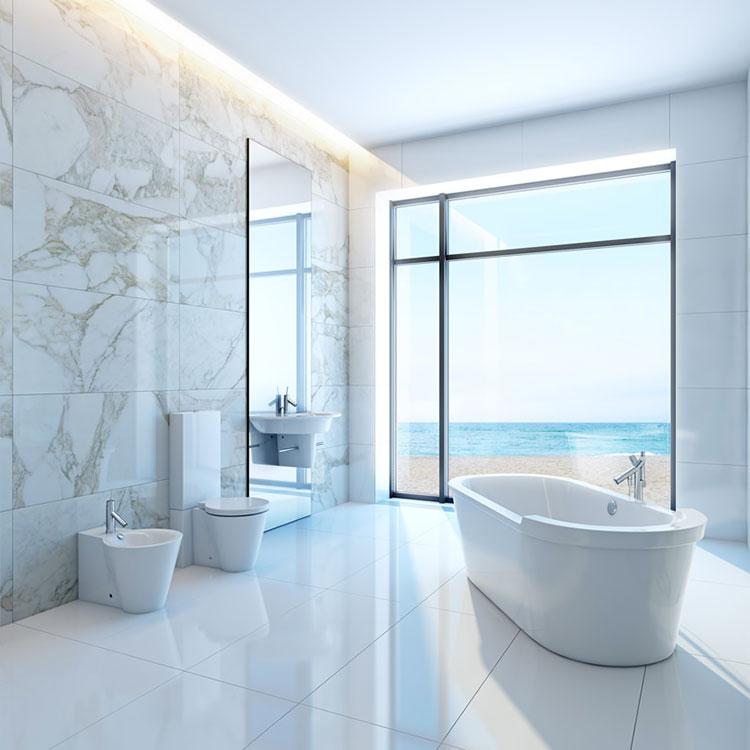 Bagno di lusso in marmo bianco n.12
