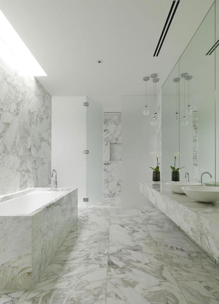 Bagno di lusso in marmo bianco n.14