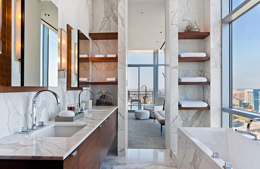 Bagno di lusso in marmo bianco n.17