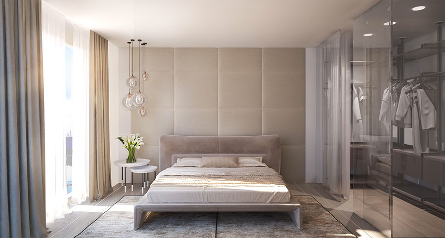 Colori bianco e beige per la camera da letto 1