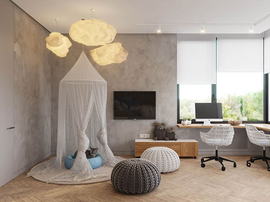 Idee per camerette con pareti grigie n.2