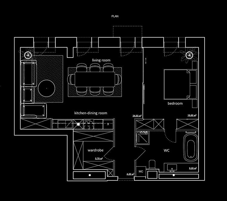Planimetria casa di 70 mq con 1 camera n.01