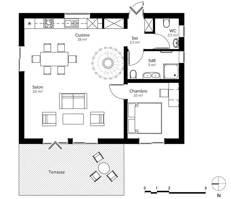 Planimetria casa di 70 mq con 1 camera n.02