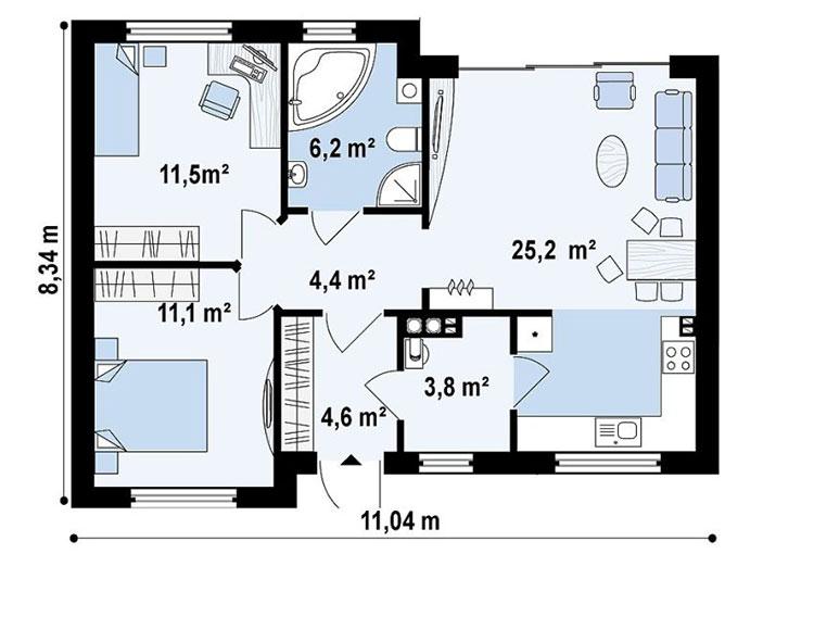 Planimetria casa di 70 mq con 2 camere n.01