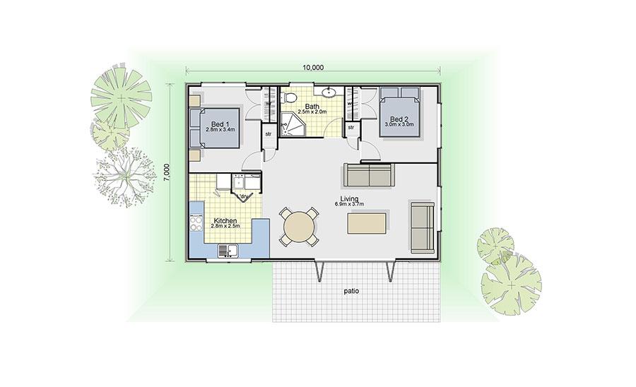 Planimetria casa di 70 mq con 2 camere n.02