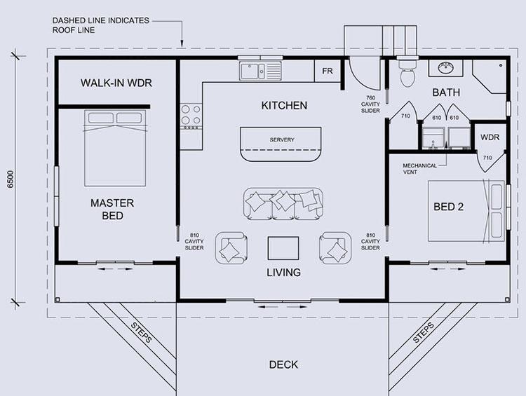 Planimetria casa di 70 mq con 2 camere n.03