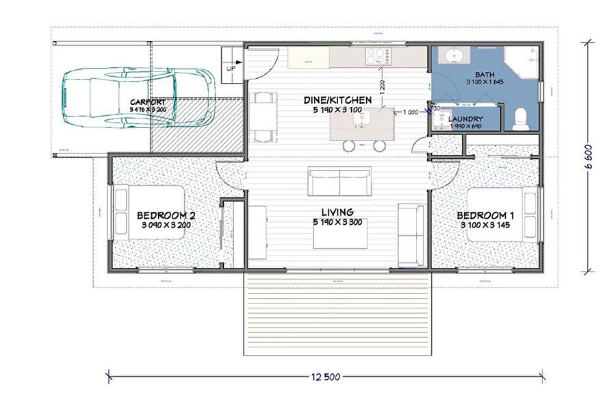 Planimetria casa di 70 mq con 2 camere n.04