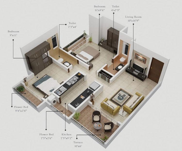 Planimetria casa di 70 mq con 2 camere n.05