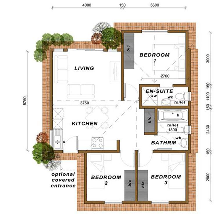 Planimetria casa di 70 mq per 4 persone con 3 camere n.01