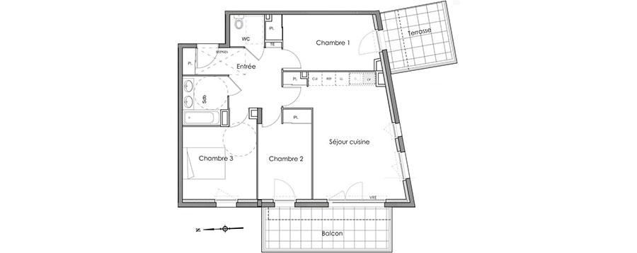 Planimetria casa di 70 mq per 4 persone con 3 camere n.03