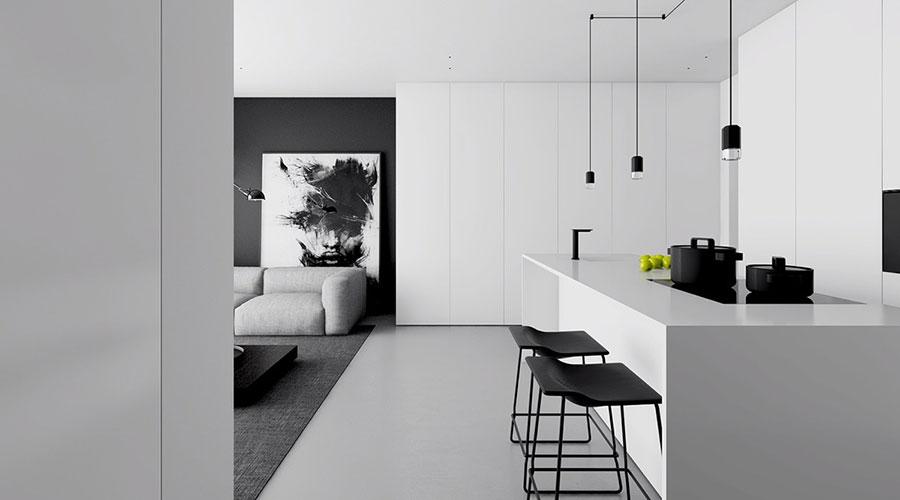 Idee per un arredamento bianco e nero in stile minimal n.02