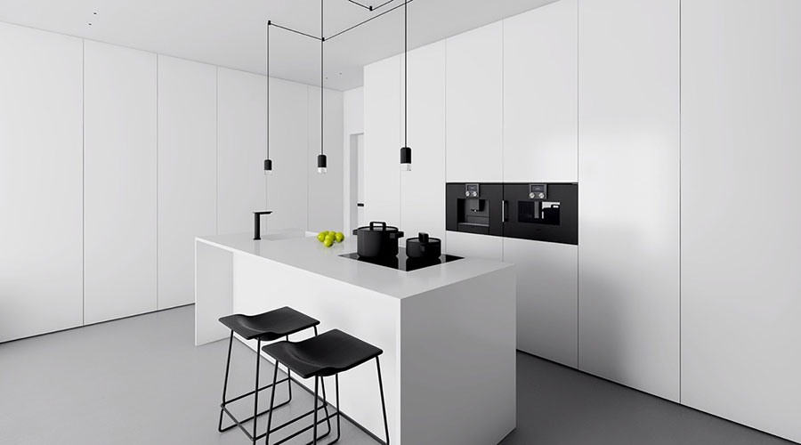 Idee per un arredamento bianco e nero in stile minimal n.03