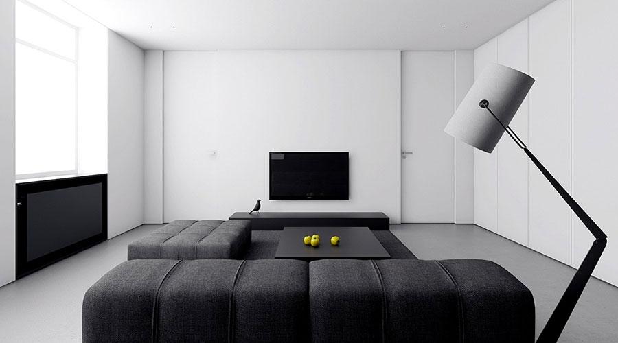 Idee per un arredamento bianco e nero in stile minimal n.07