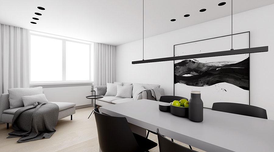Idee per un arredamento bianco e nero in stile minimal n.11
