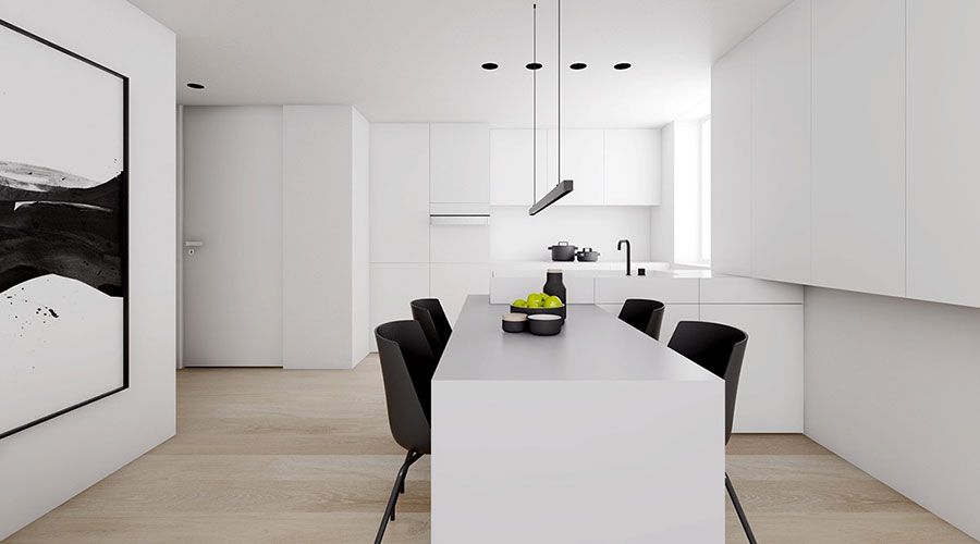 Idee per un arredamento bianco e nero in stile minimal n.15