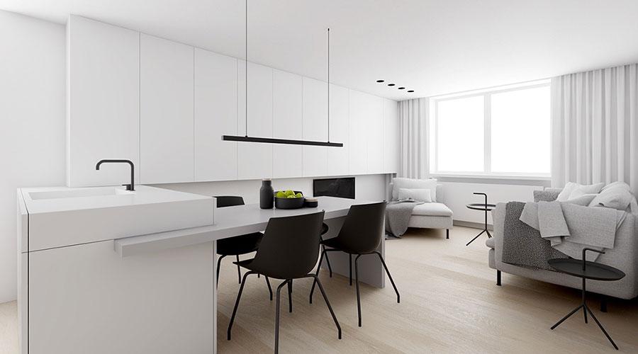 Idee per un arredamento bianco e nero in stile minimal n.16