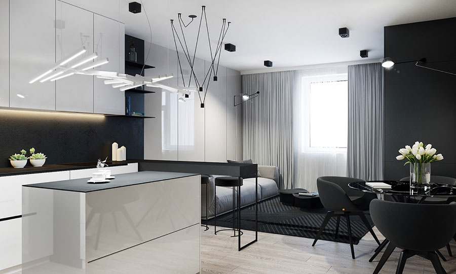 Idee per un arredamento bianco e nero in stile minimal n.19