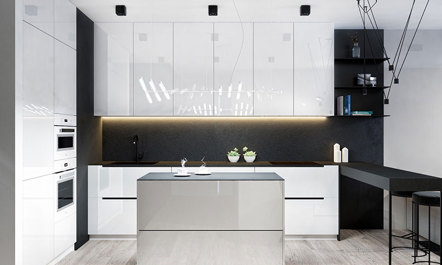 Idee per un arredamento bianco e nero in stile minimal n.20
