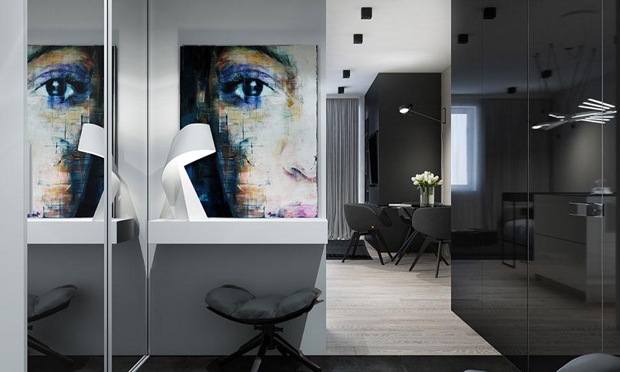 Idee per un arredamento bianco e nero in stile minimal n.21