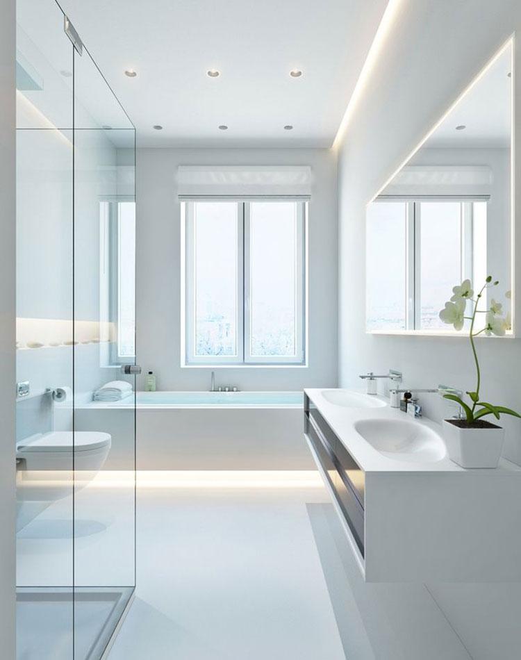 Idee per arredare un bagno bianco moderno n.03