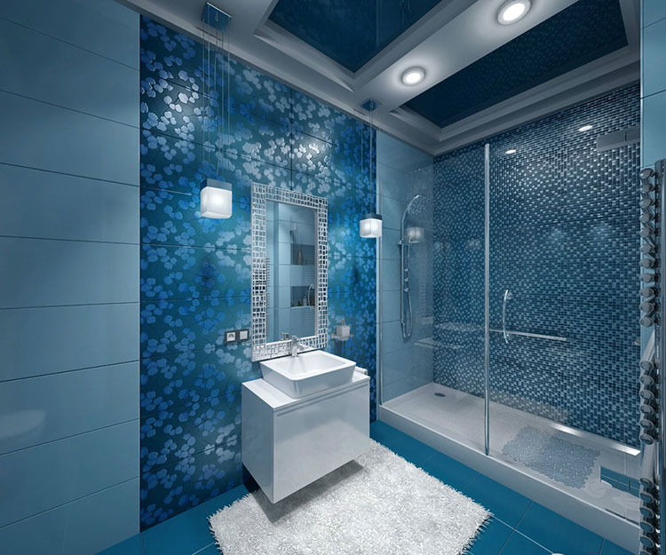 Idee per arredare un bagno blu e bianco n.01