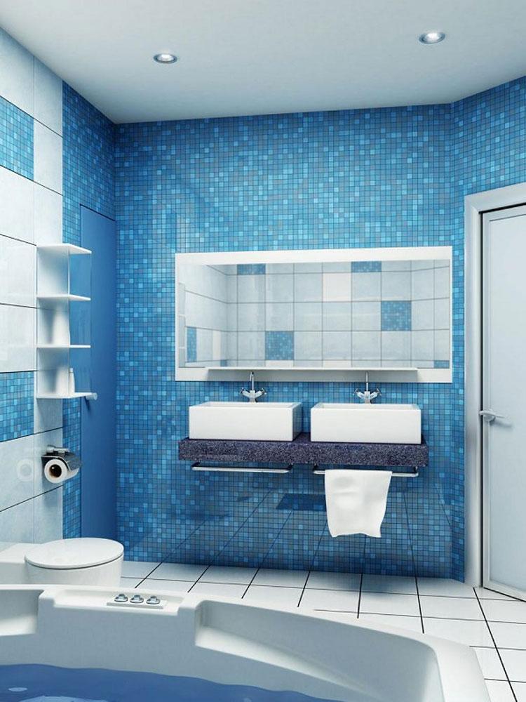 Idee per arredare un bagno blu e bianco n.10