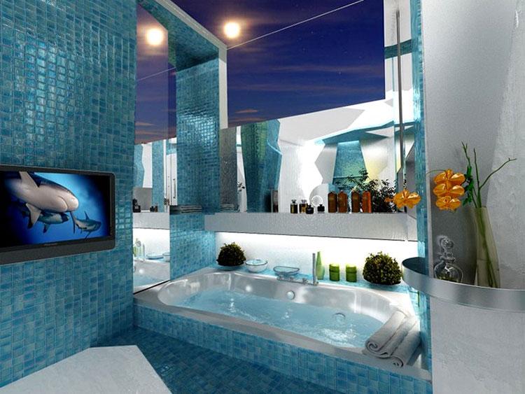 Idee per arredare un bagno blu e bianco n.19