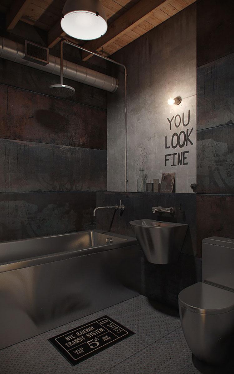 Idee di arredo per un bagno in stile industriale n.12