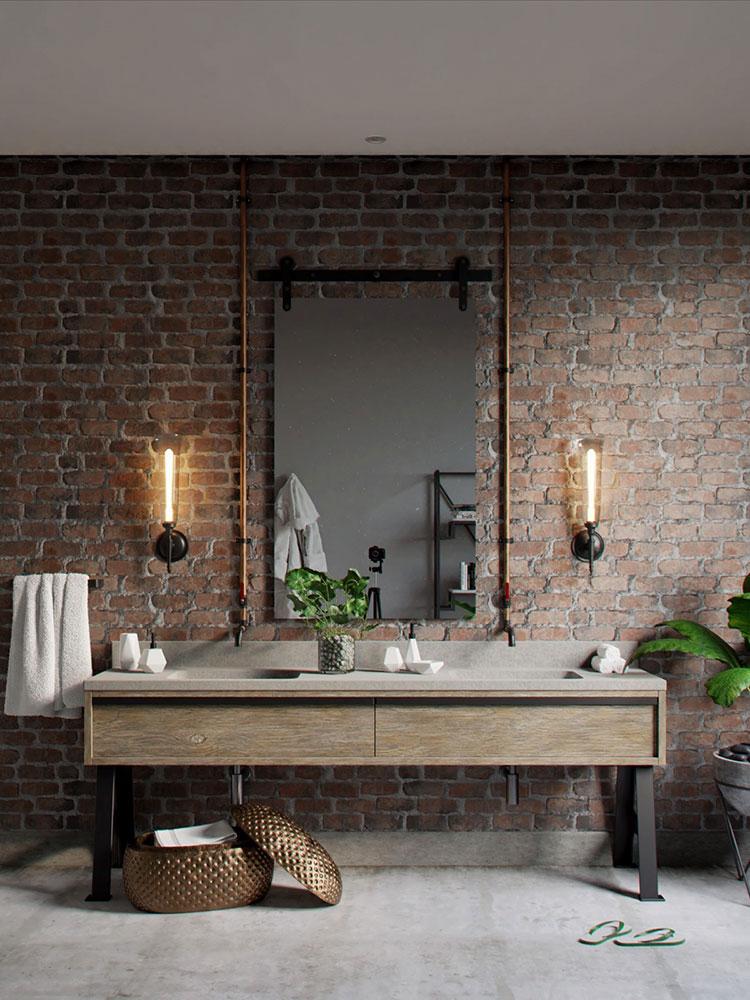 Idee di arredo per un bagno in stile industriale n.27
