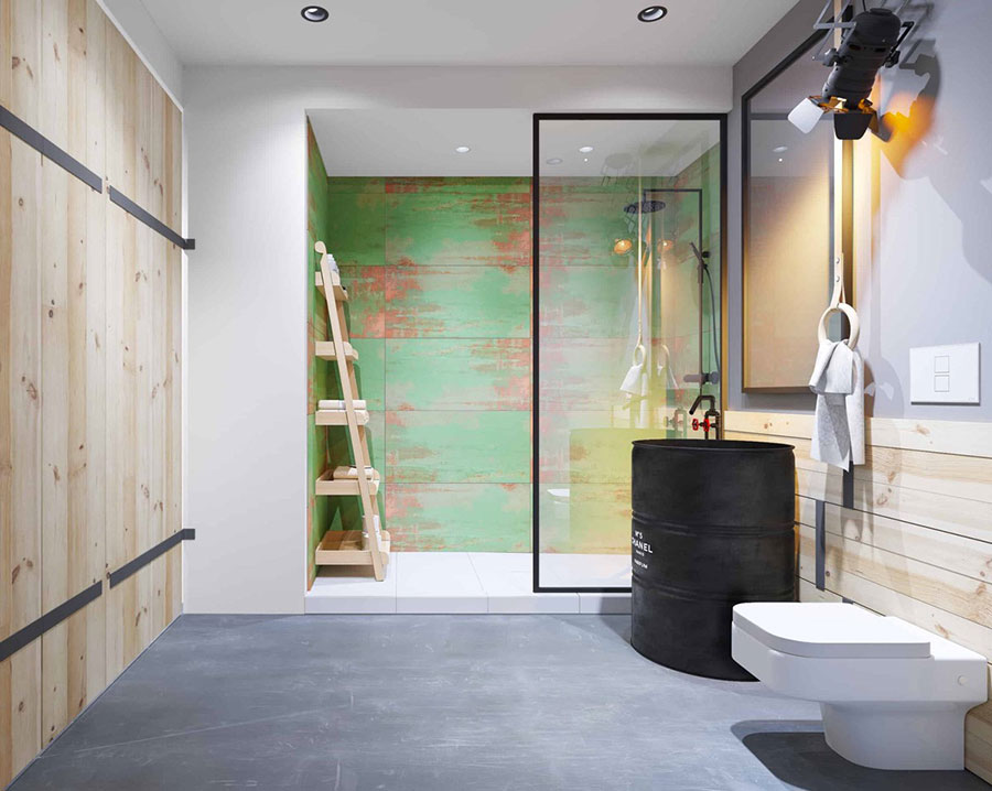 Idee di arredo per un bagno in stile industriale n.28