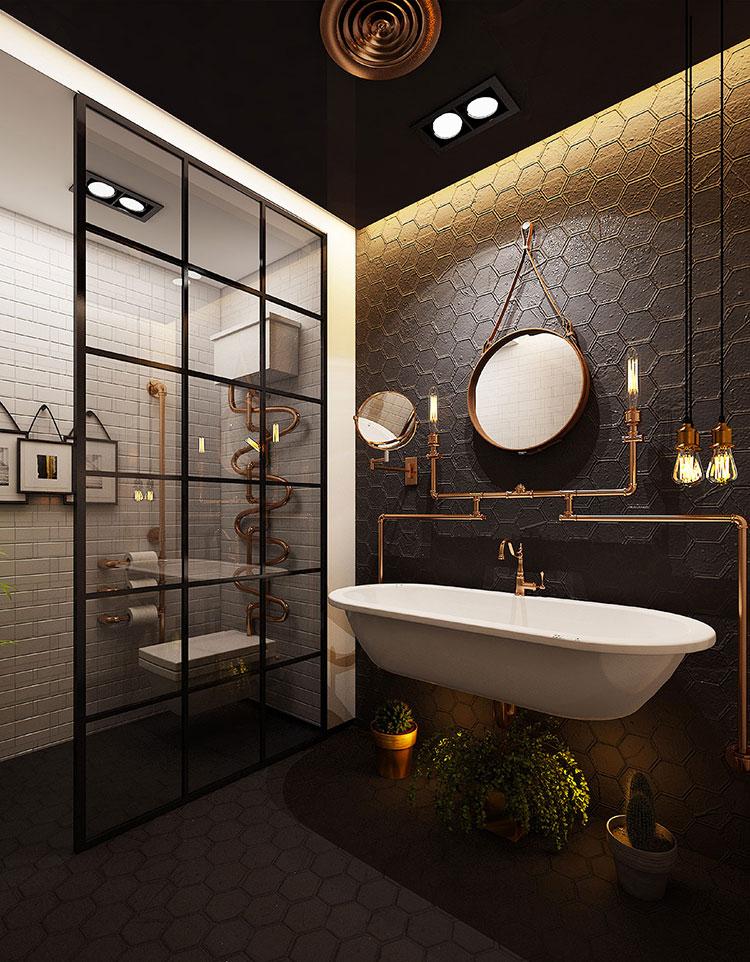 Idee di arredo per un bagno in stile industriale n.41