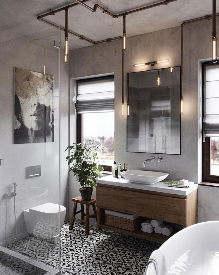 Idee di arredo per un bagno in stile industriale n.42