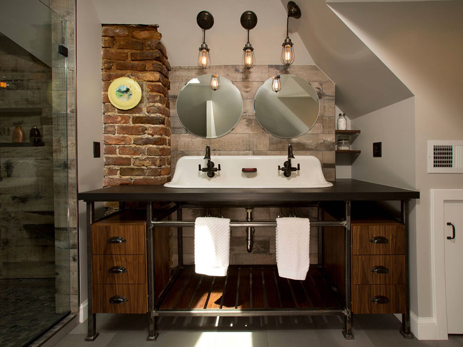 Idee di arredo per un bagno in stile industriale n.46