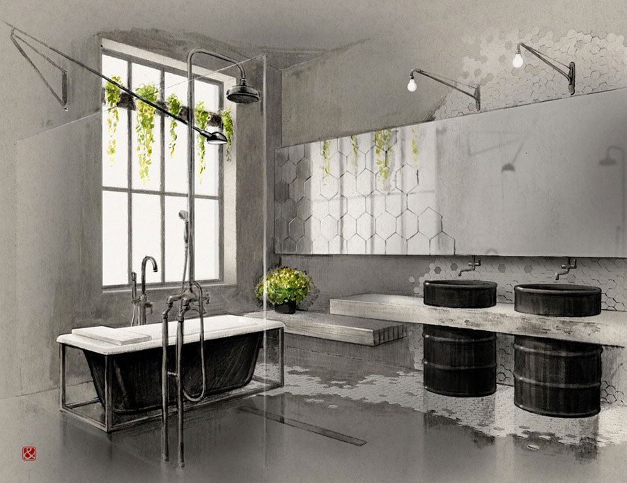 Idee di arredo per un bagno in stile industriale n.50