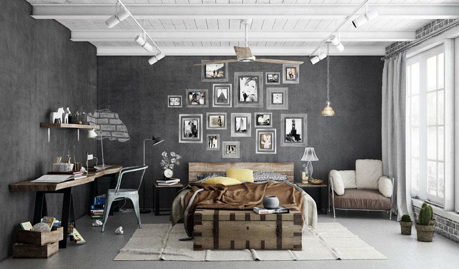 Idee per arredare una camera da letto in stile industriale n.07