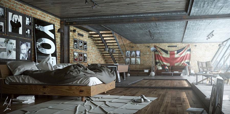 Idee per arredare una camera da letto in stile industriale n.16