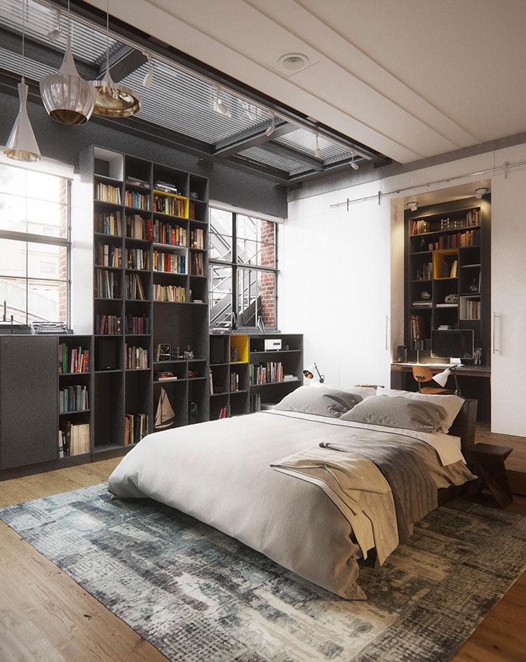 25 idee per arredare una camera da letto in stile industriale - Planimetria camera da letto ...