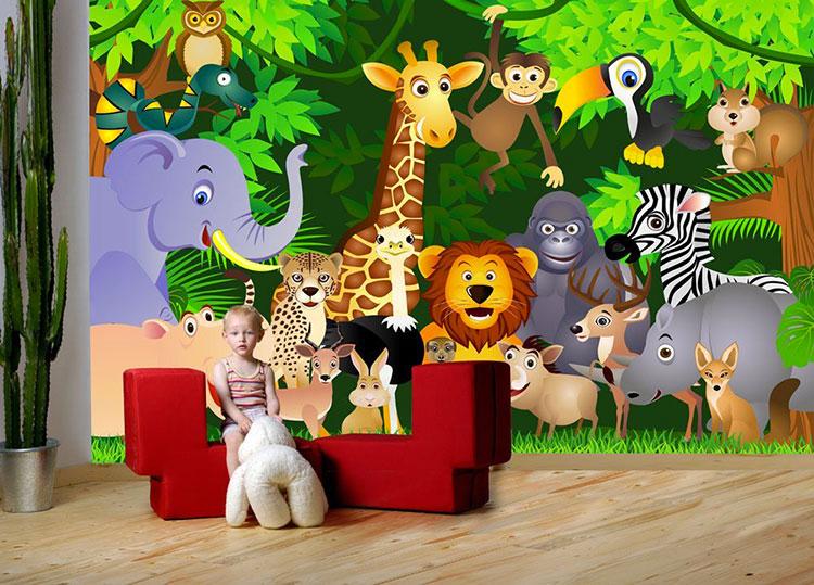 Carta da parati con animali motivo giungla per la cameretta dei bambini n.01