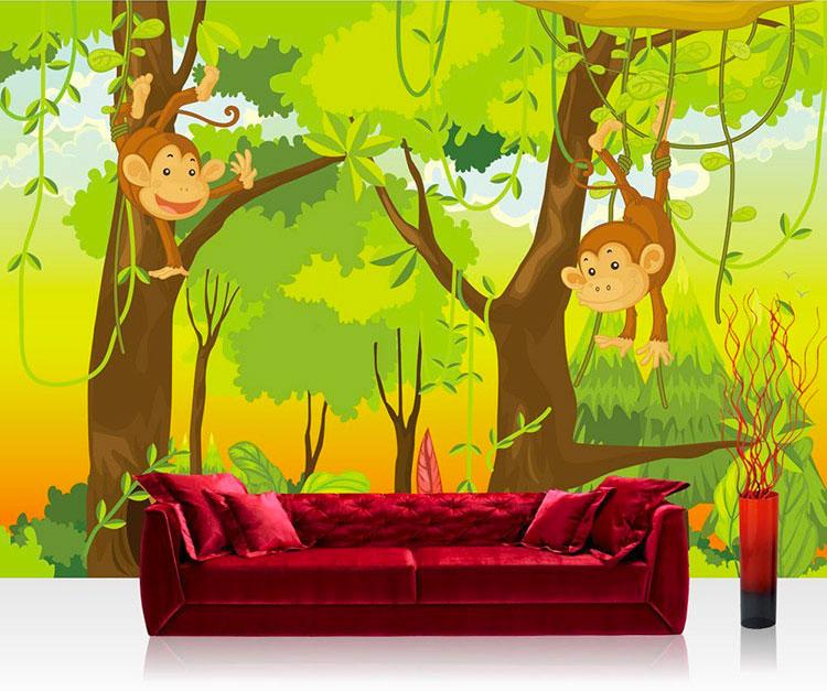 Carta da parati con animali motivo giungla per la cameretta dei bambini n.02